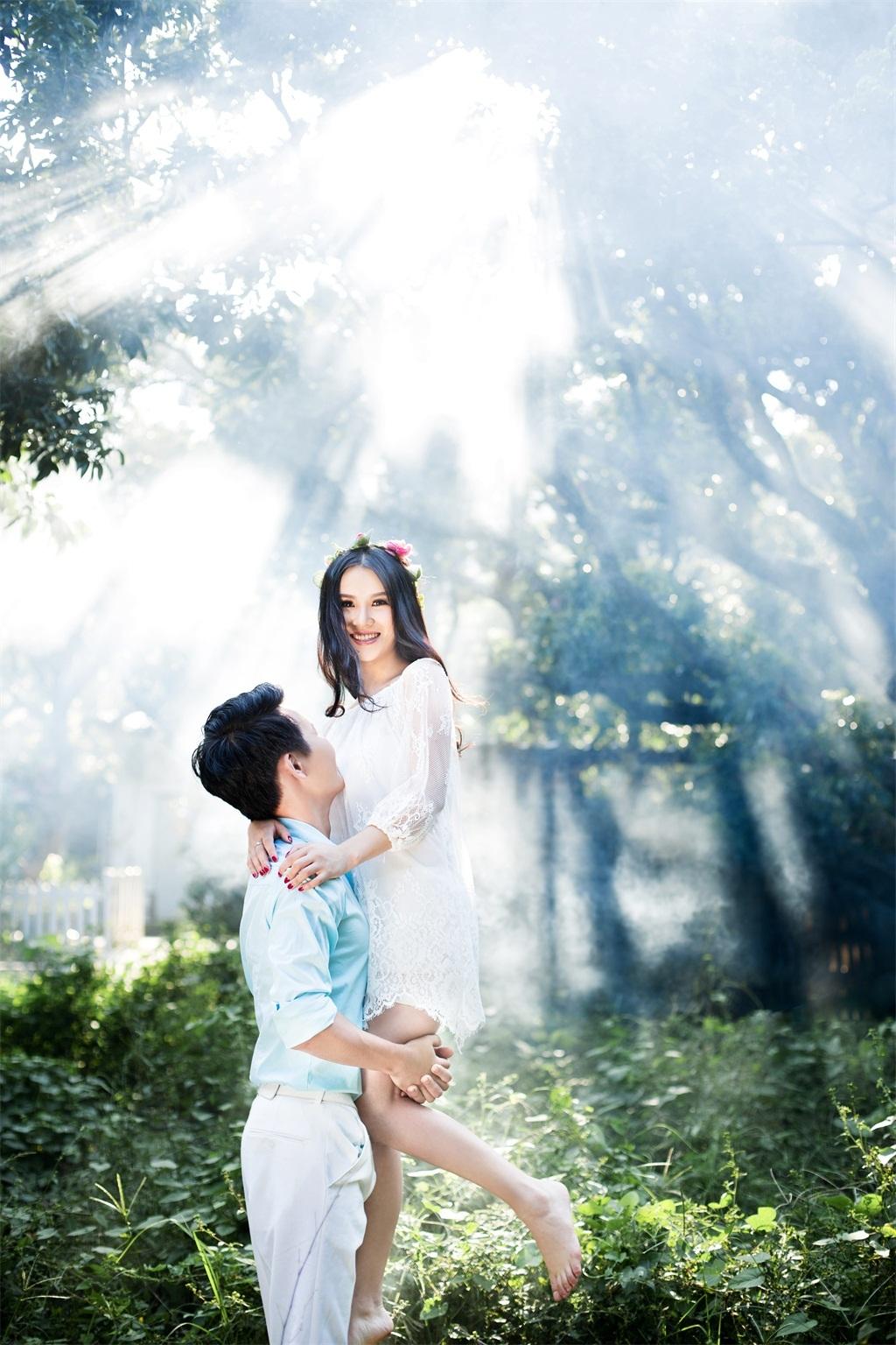 森林系小清新婚纱照图片