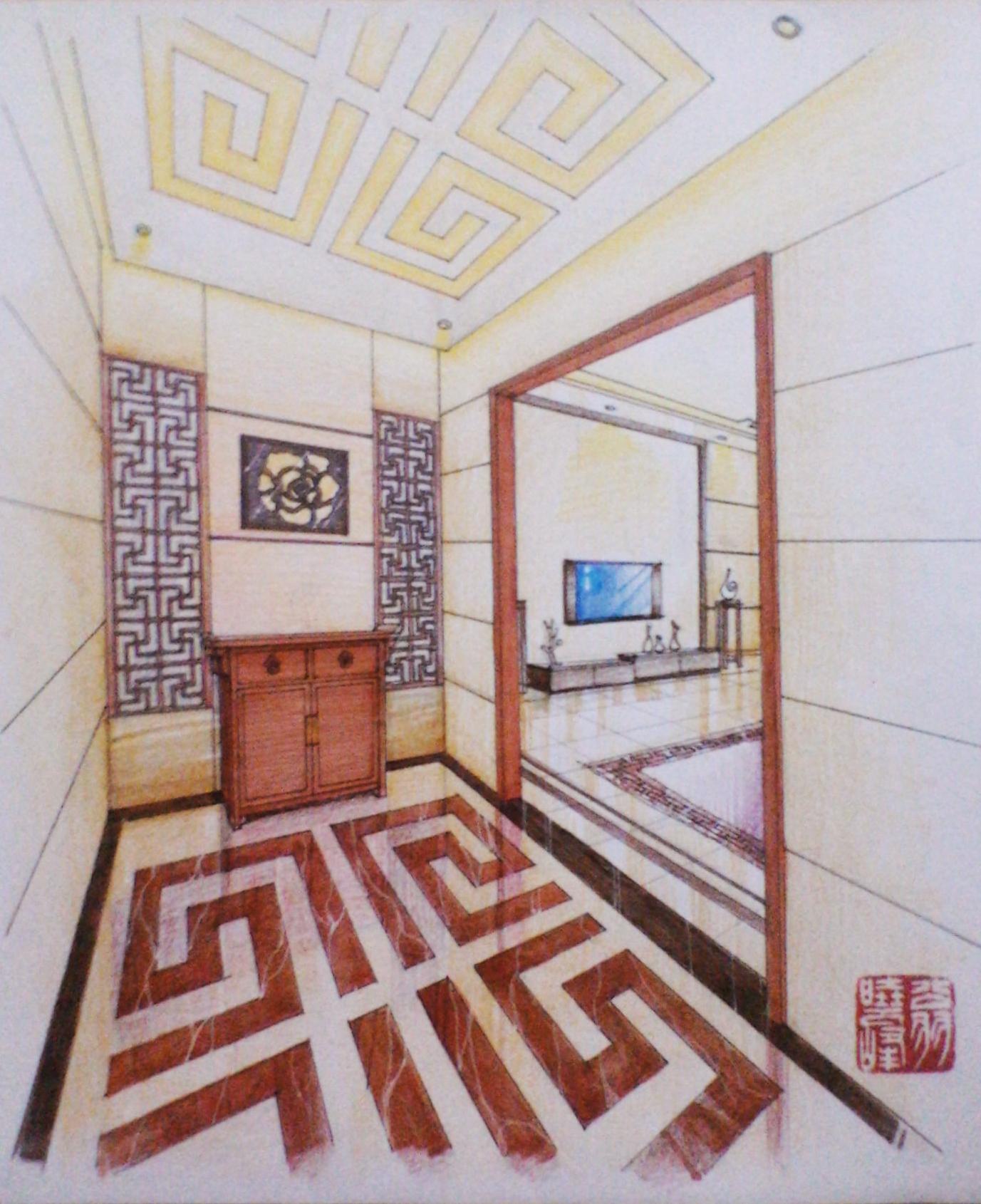 中式玄关手绘表现图