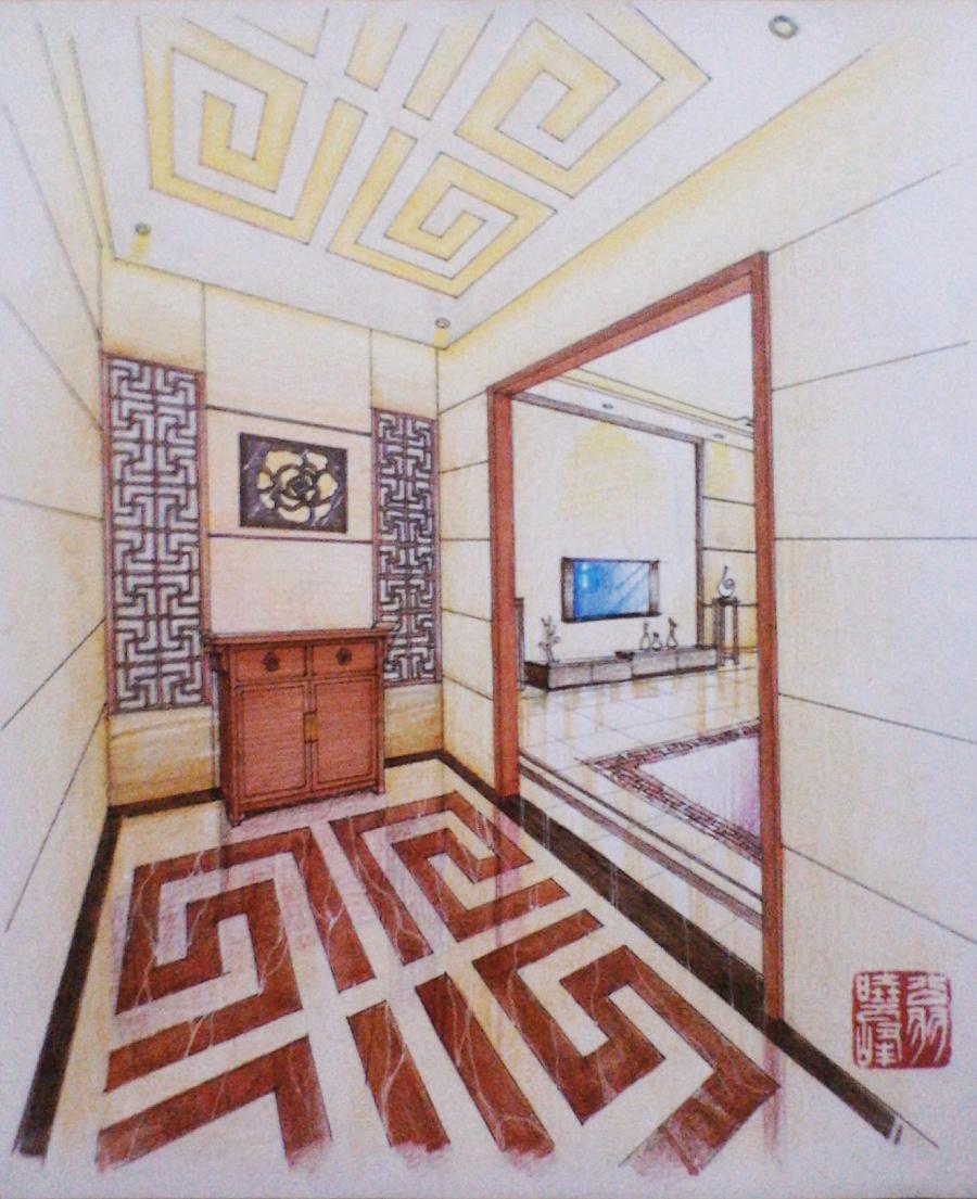 中式玄关手绘表现图 室内设计 空间/建筑 翁小峰