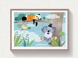 熊猫、树懒和小鸟放学后的故事