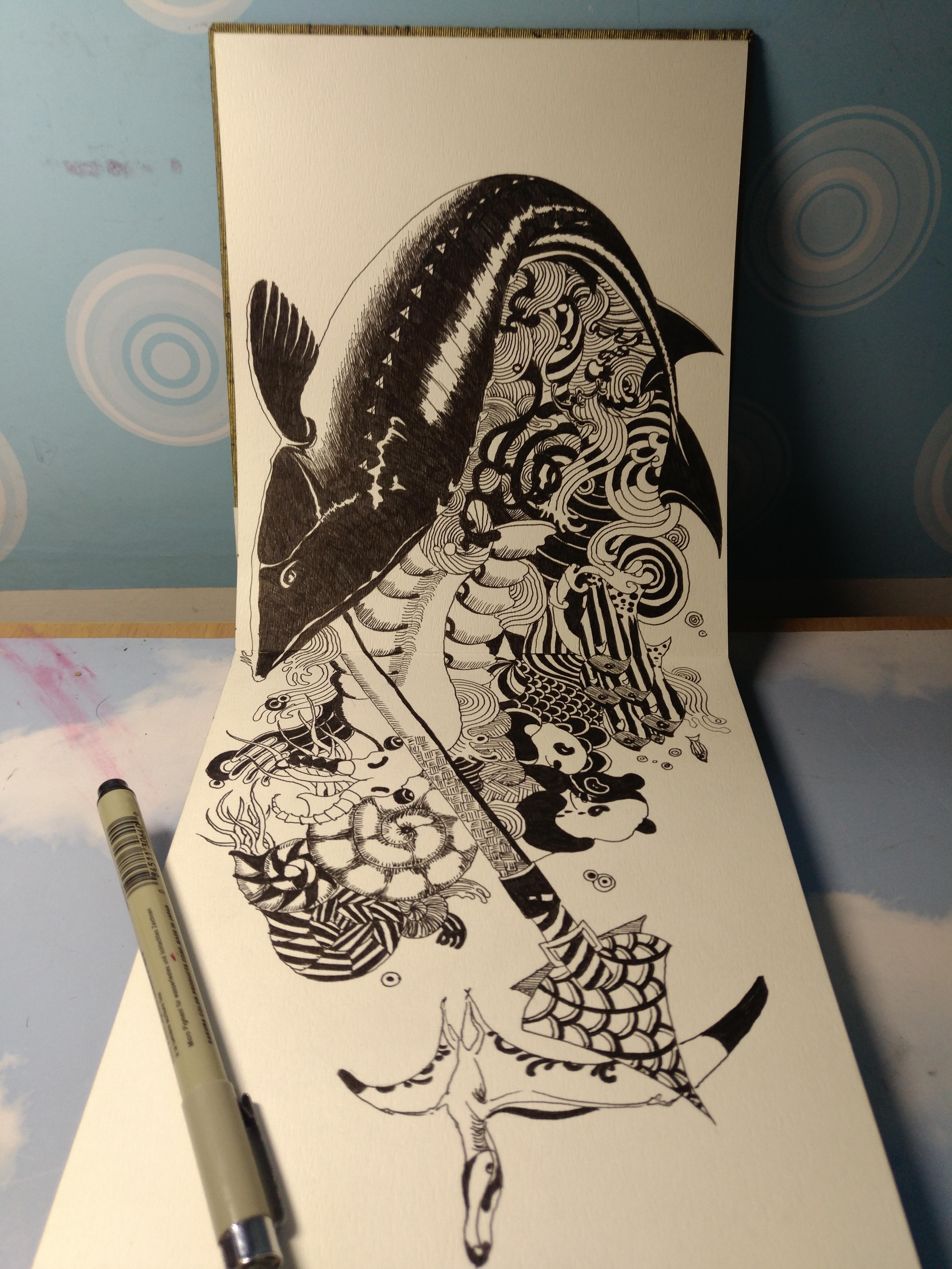 邹邹安 ——大学映射——手绘 黑白 插画 创意 中国风