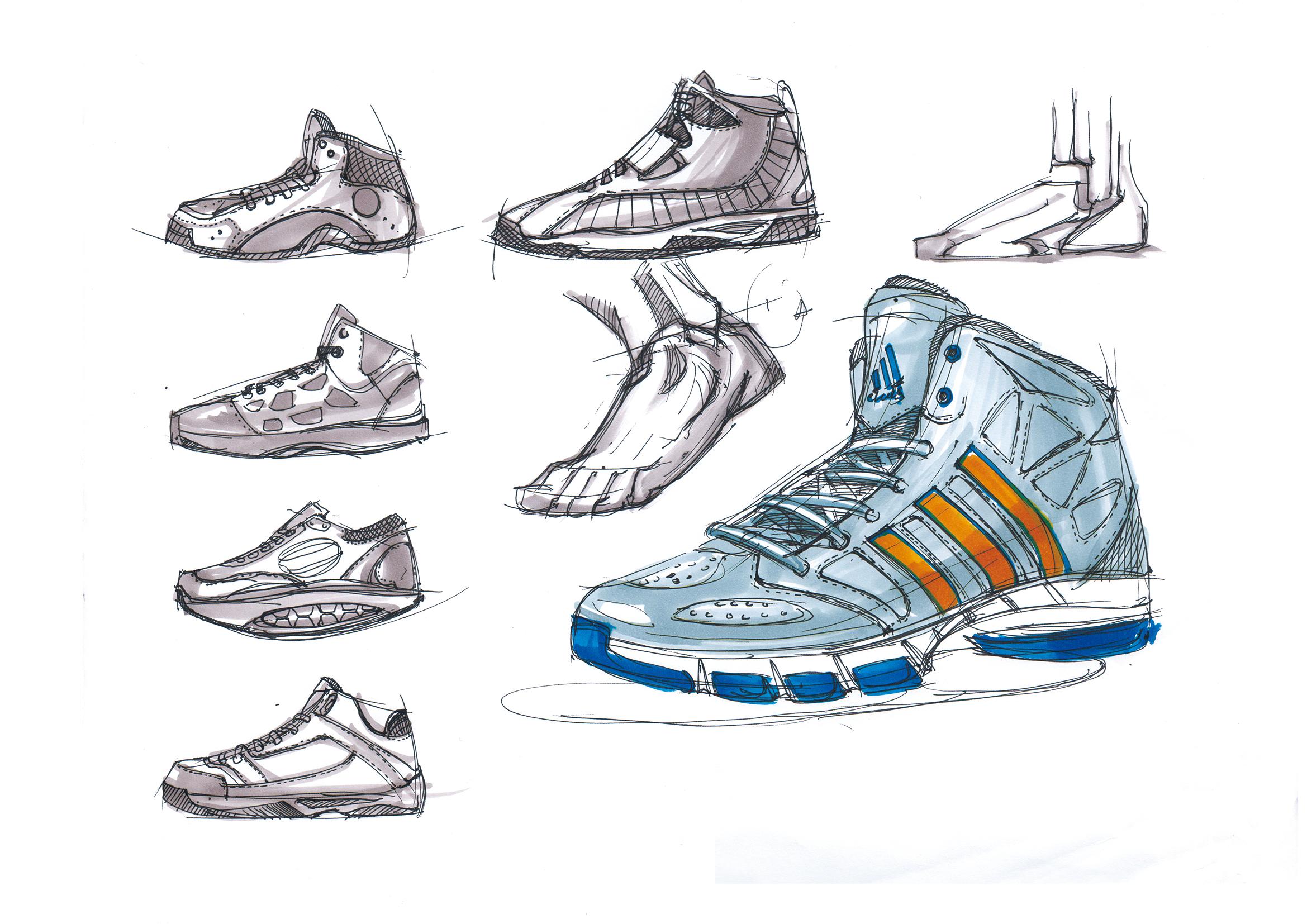 篮球鞋线稿及上色 产品设计手绘