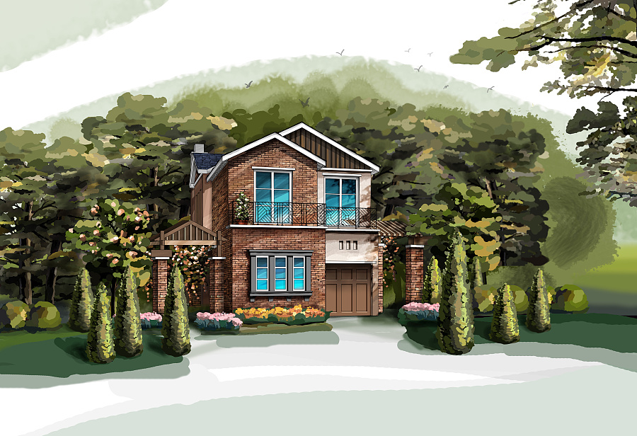 南山高尔夫别墅手绘效果图 建筑设计 空间/建筑 王
