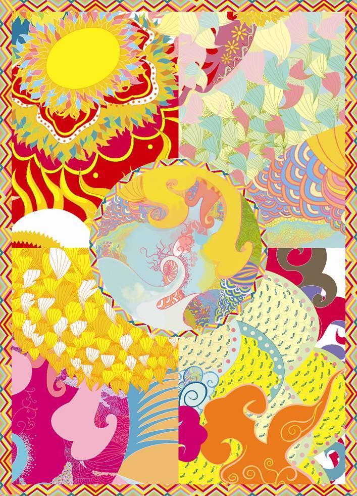 彩色手绘图舞狮