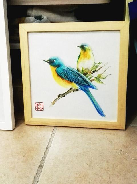 花鸟彩铅装饰画