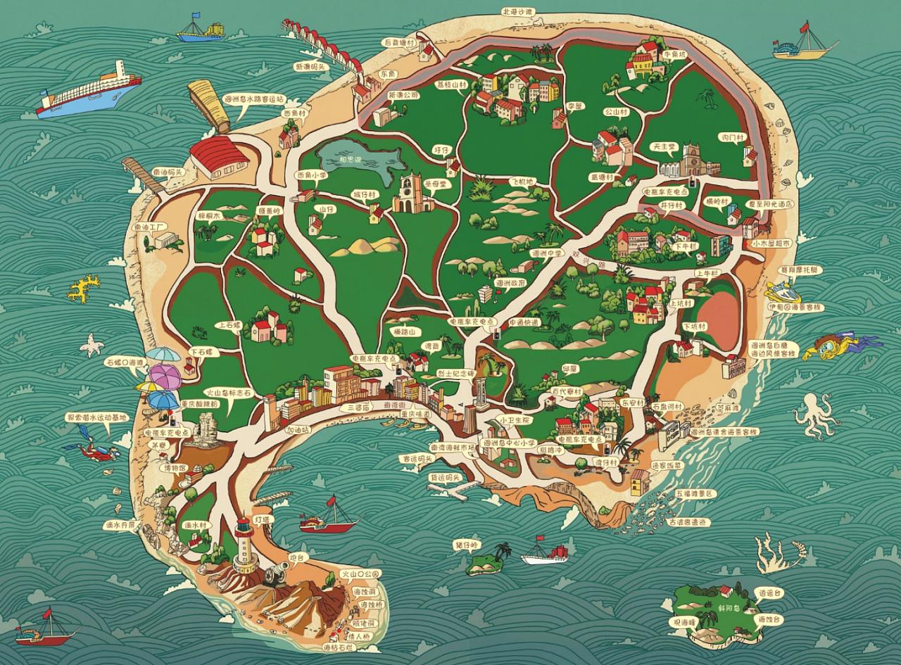 涠洲岛手绘地图 手绘地图设计 手绘地图定制