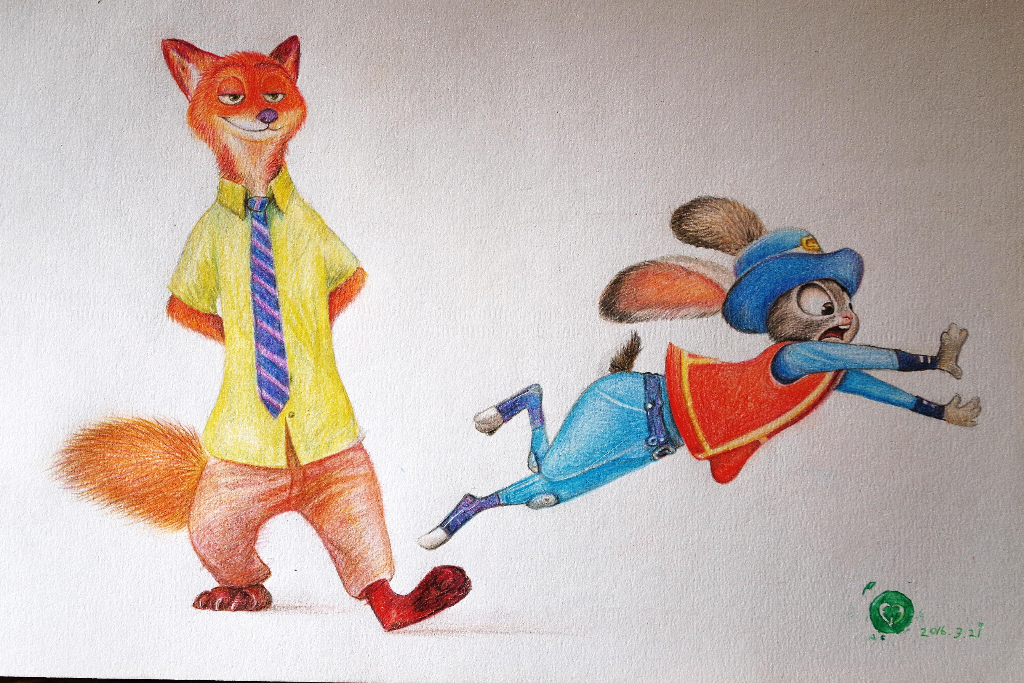彩色铅笔 疯狂动物城