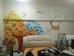 6南京手绘墙画沙发背景墙彩绘快乐的麋鹿