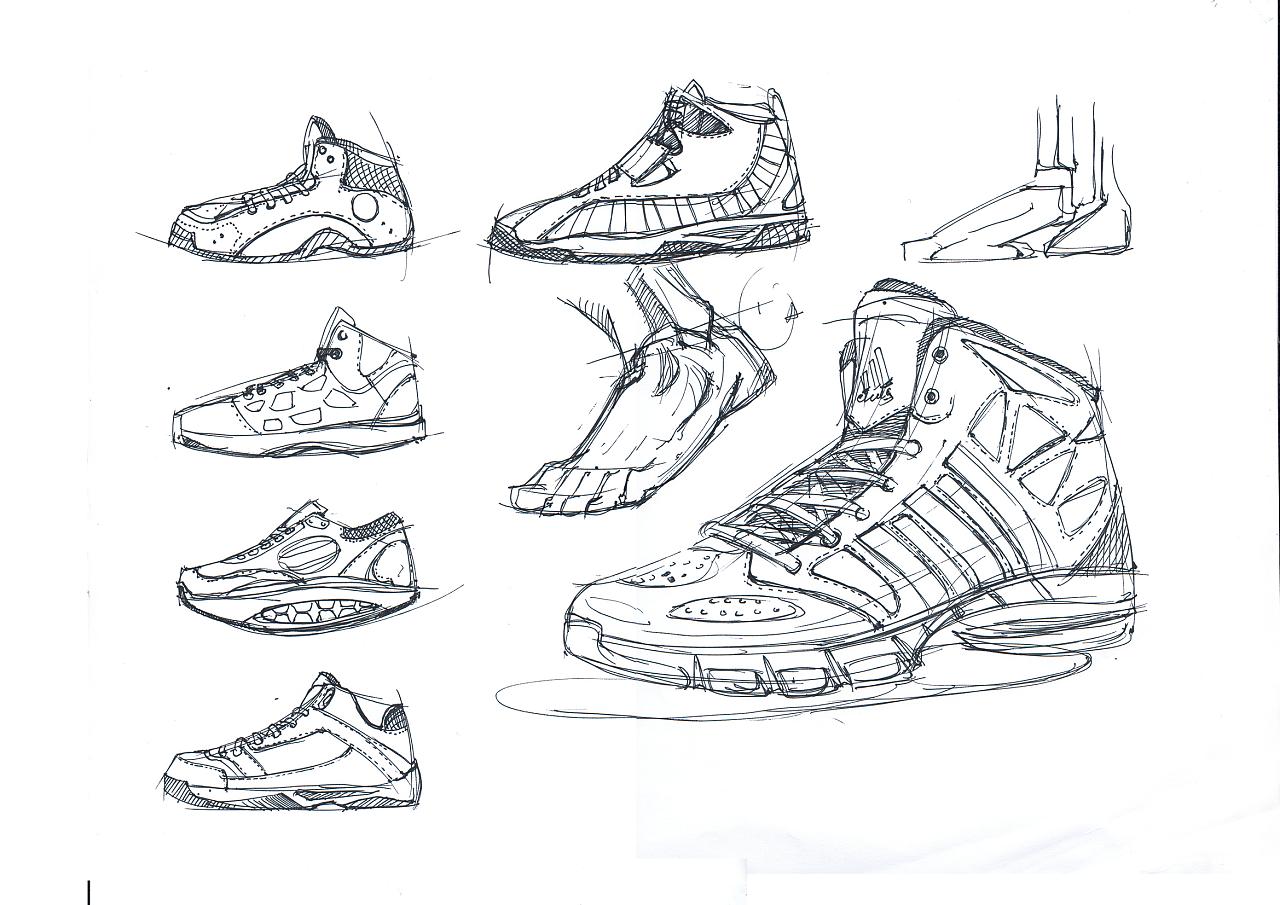 篮球鞋线稿及上色 产品设计手绘|工业/产品|生活用品