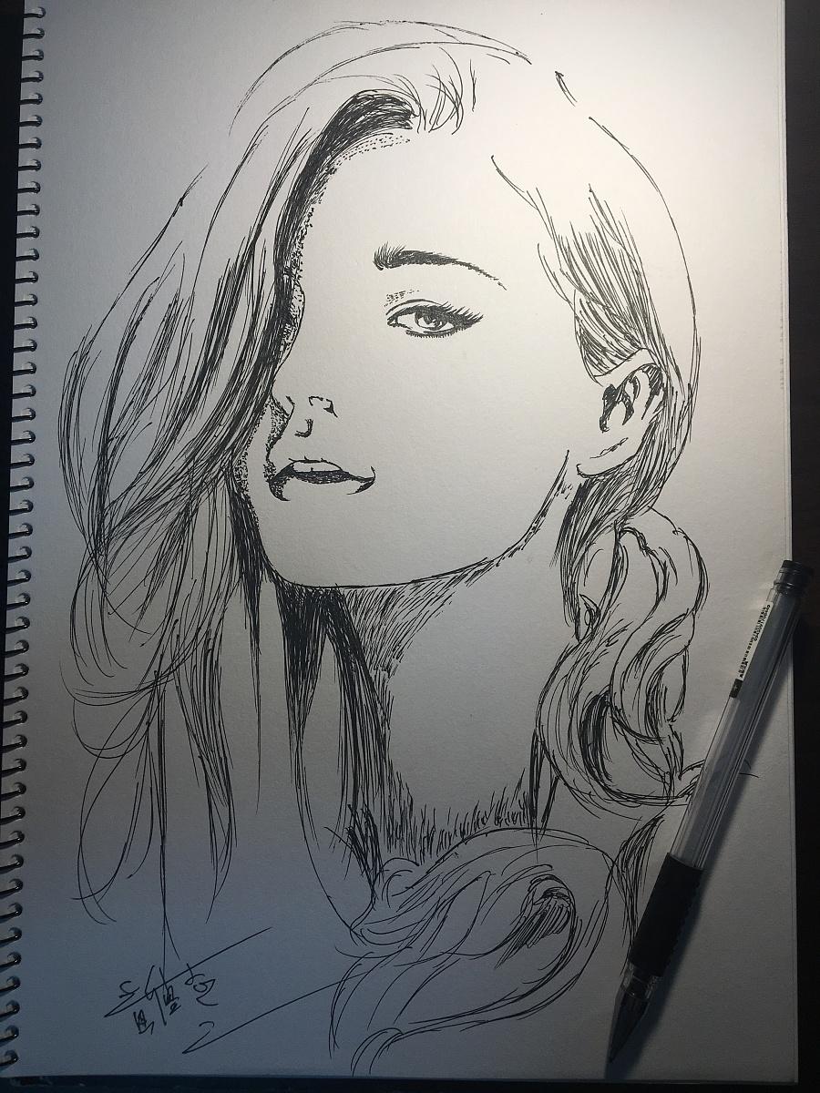圆珠笔练习 手绘大美女