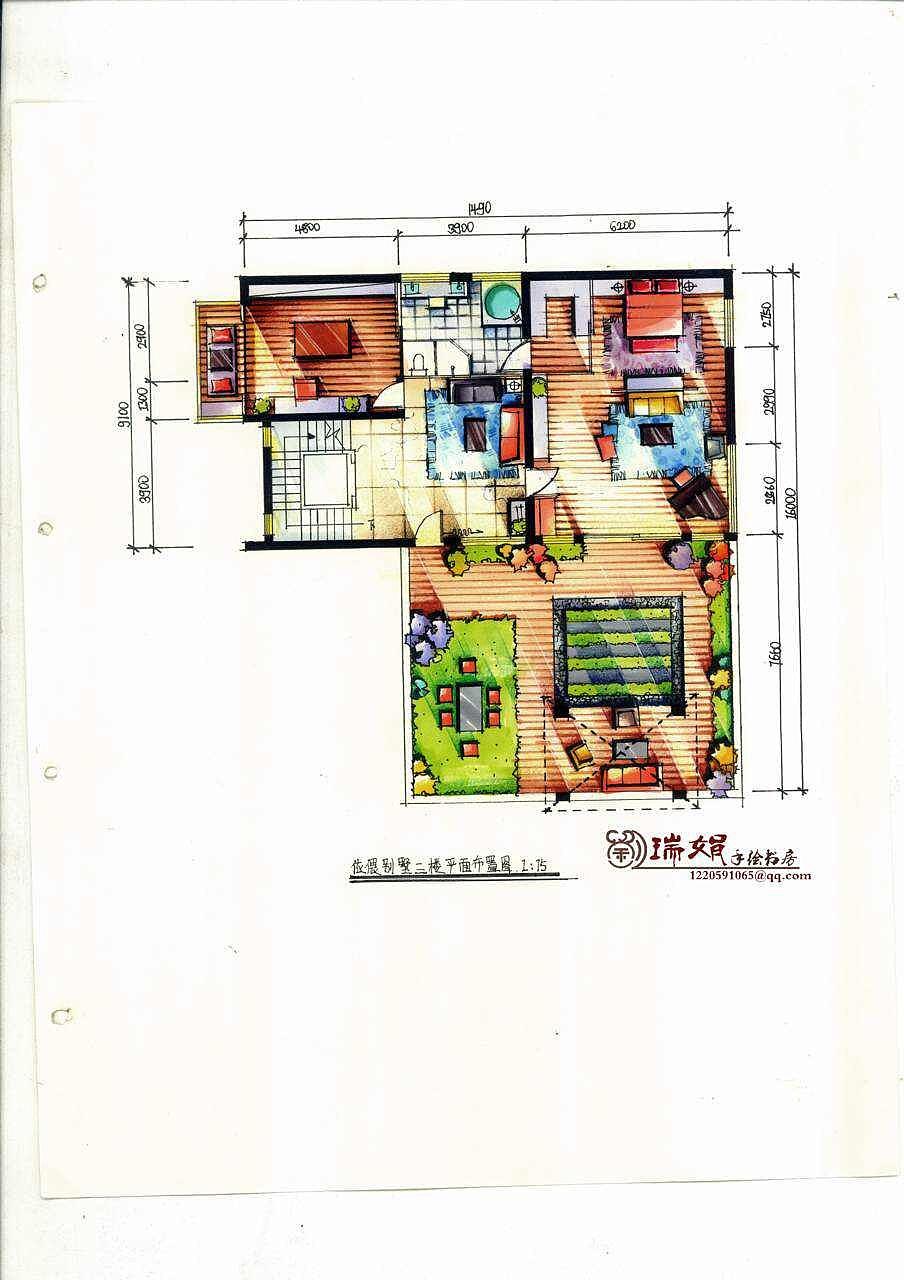 别墅手绘|空间|室内设计|刘张星语 - 原创作品 - 站酷