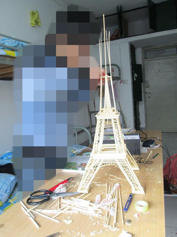 纯手工筷子搭建埃菲尔铁塔|模型/平台玩具|手工艺|光