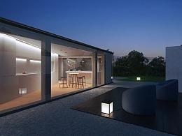 瑞士卢加诺湖边别墅的黄昏