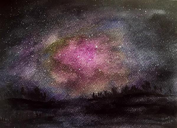 星空—水彩画图片