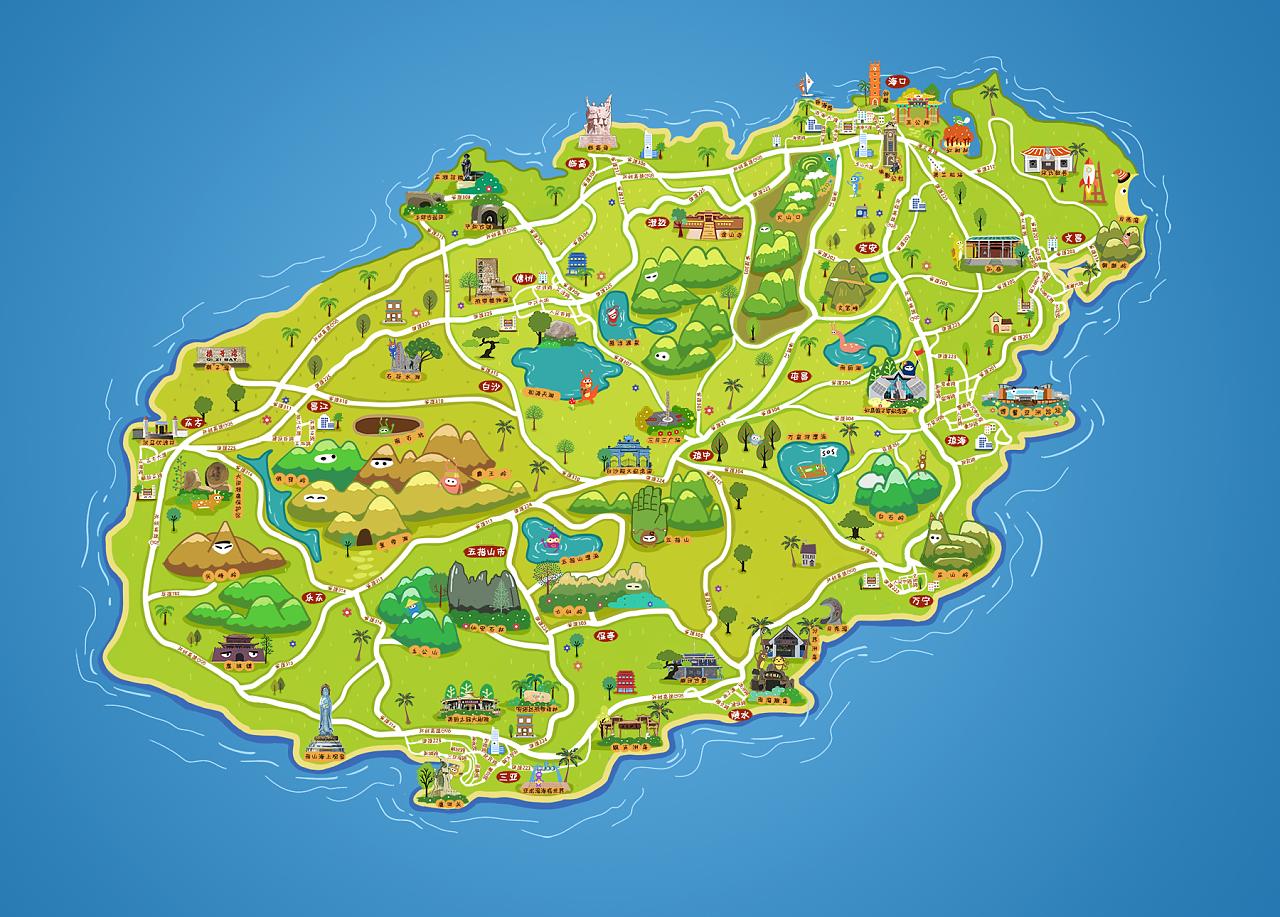 海南手绘地图