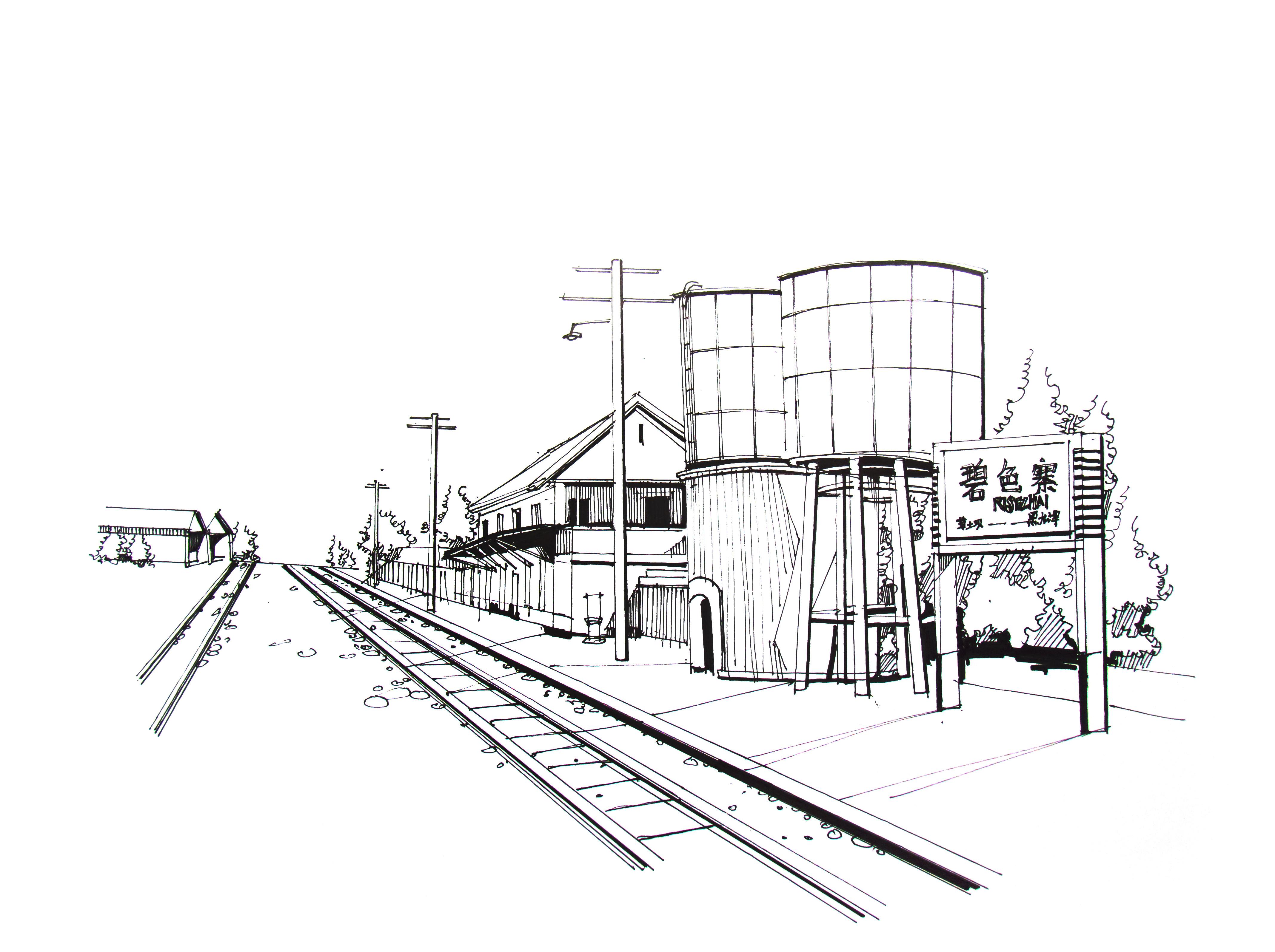 手绘建筑线稿