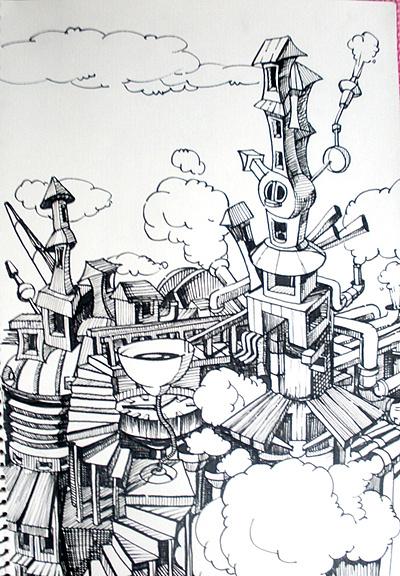 工厂建筑手绘线稿