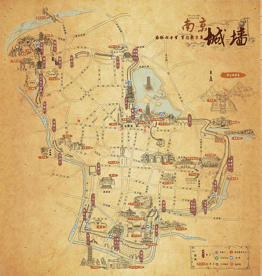 纪念南京城墙650年-手绘地图