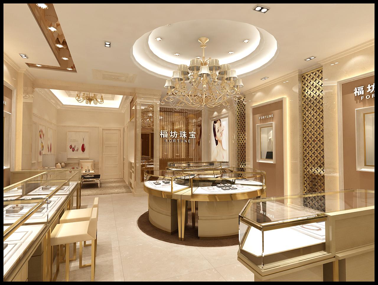 高端精美珠宝展示柜效果图
