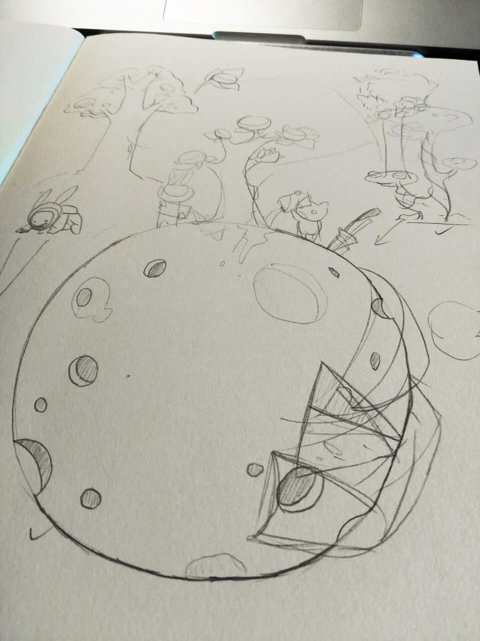 简笔手绘彩色月饼好看