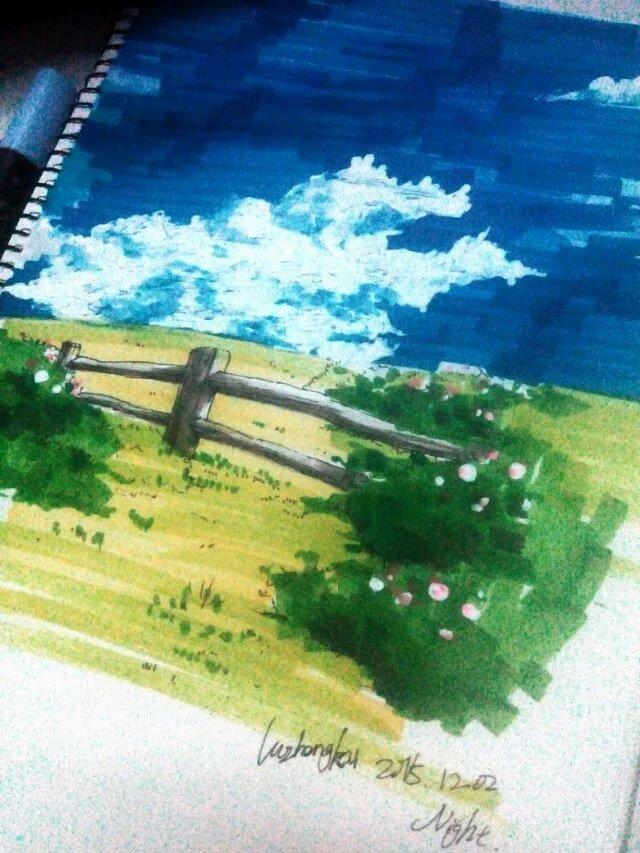 一组手绘马克笔手绘场景|绘画习作|插画|聆枫soul
