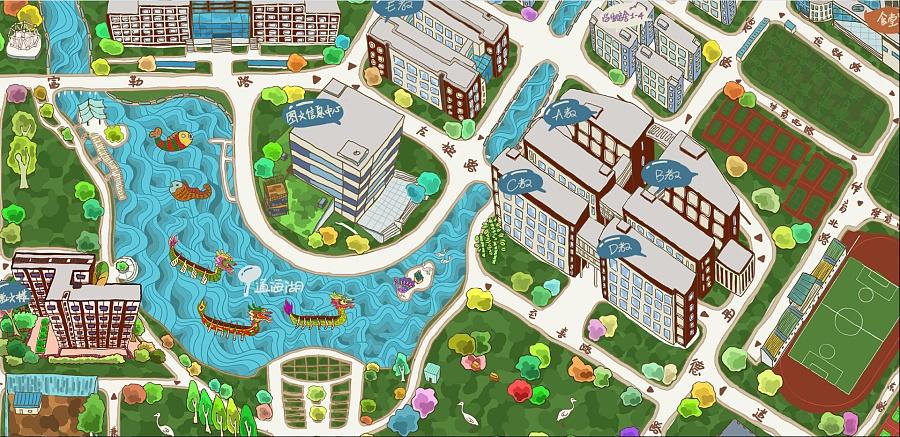 华东理工大学奉贤校区手绘地图 平面其他 平面