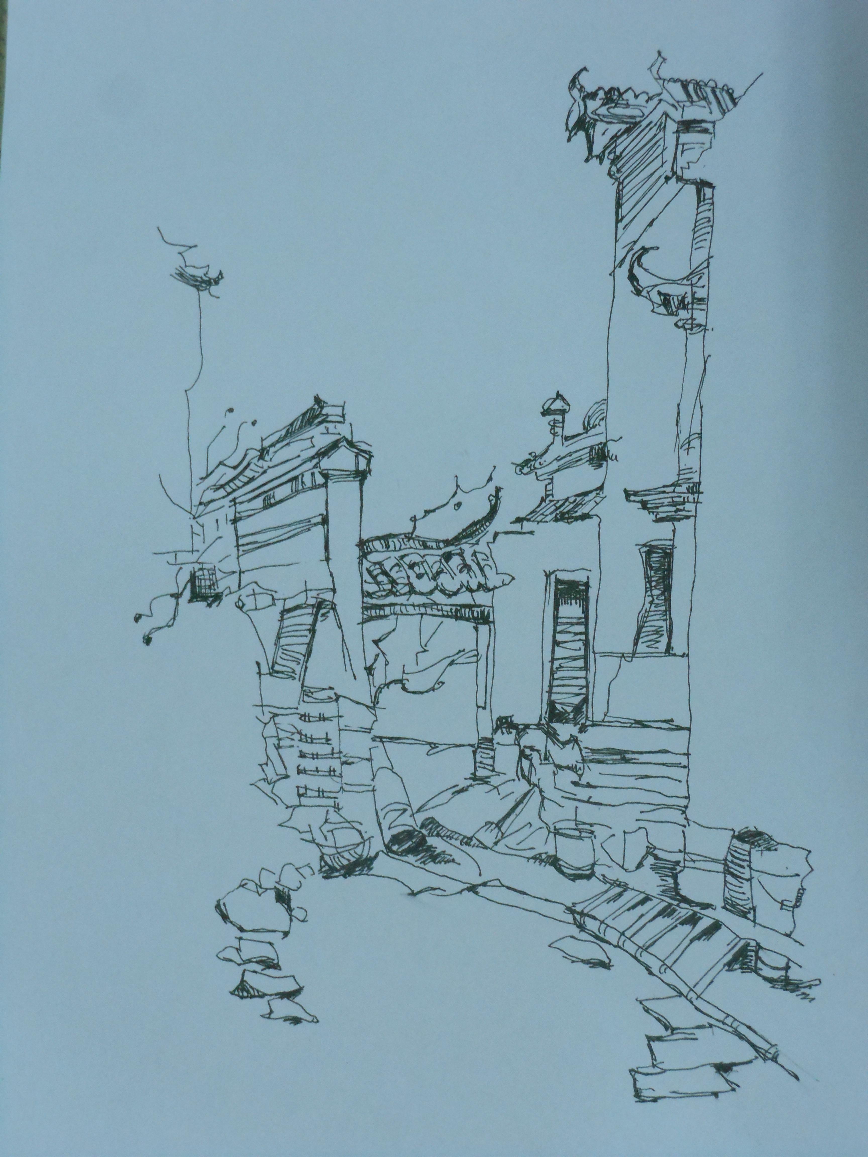建筑速写|纯艺术|钢笔画|by静儿 - 原创作品 - 站酷