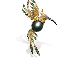 飞鸟胸针异形珍珠首饰作品