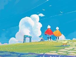 【sky光遇同人插画】在最美好的时间遇见你
