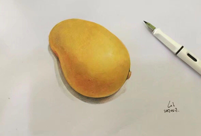 彩铅画 芒果