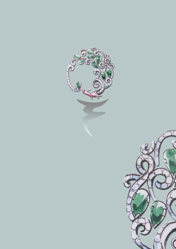 珠宝手绘胸针饰品
