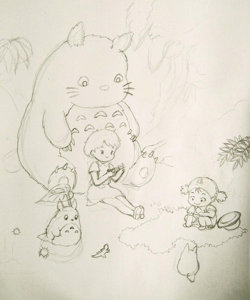 手绘习作-龙猫
