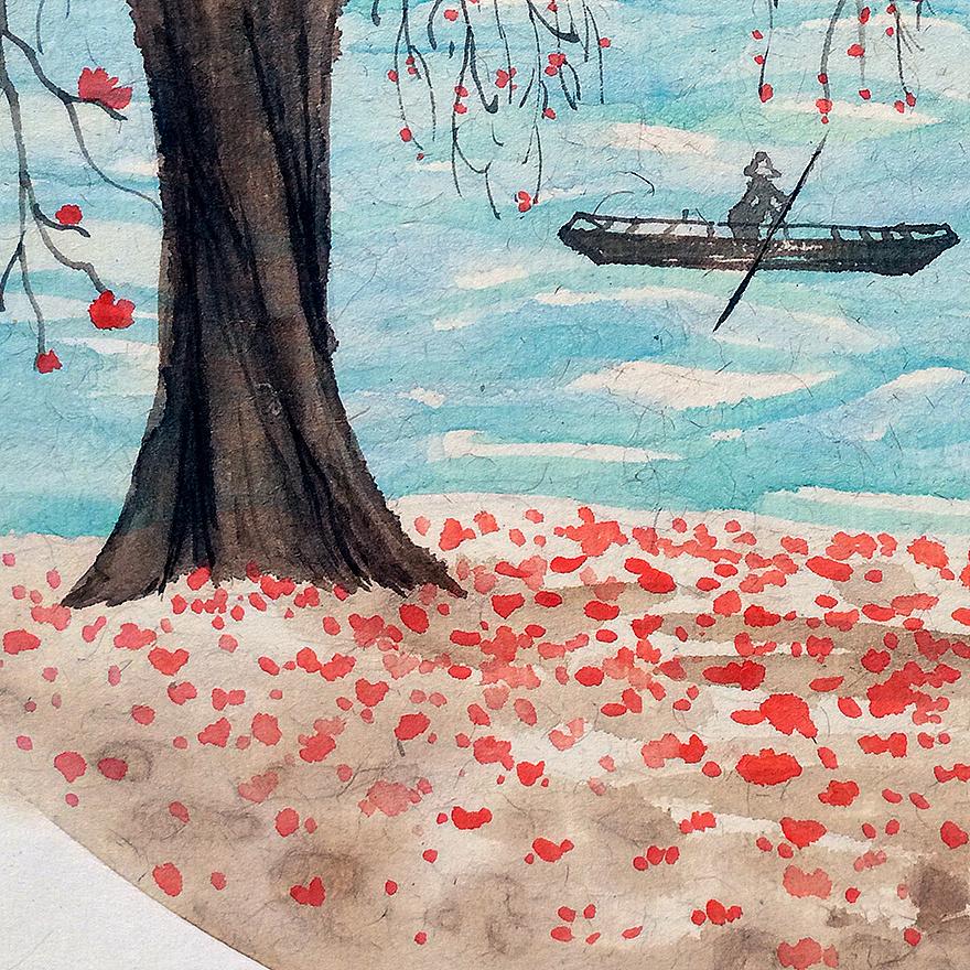 《落红树下》原创新水墨