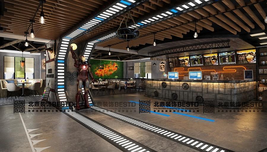 网咖水吧台设计丨网吧吧台装修效果图丨2016网吧吧台设计【北鼎装饰】