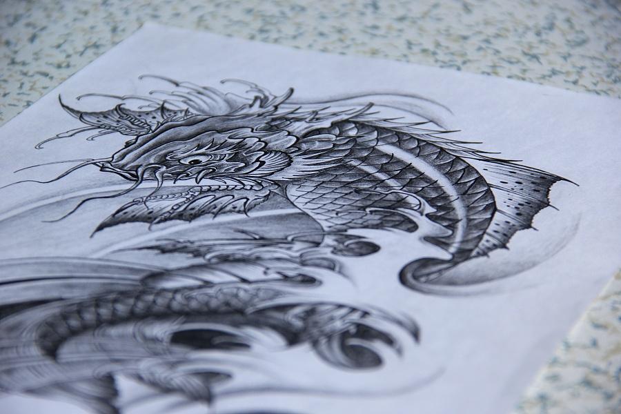 鳌鱼纹身手稿|涂鸦/潮流|插画|mr.j