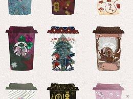 【时尚系列】咖啡杯插画原创设计