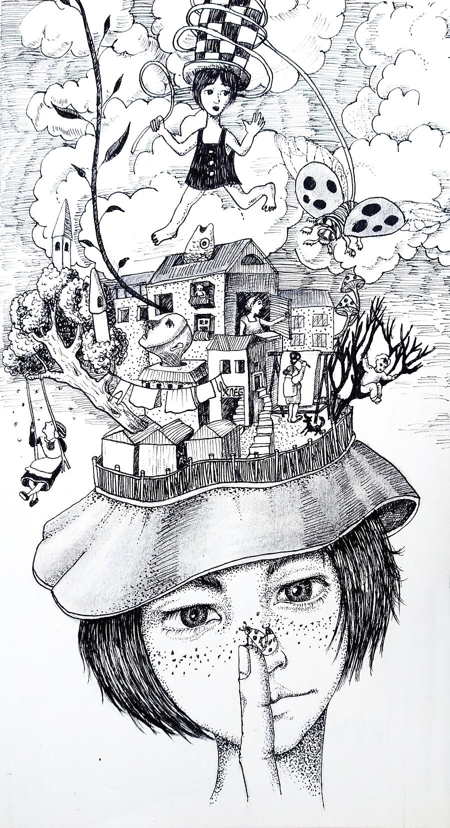 一些黑白手绘-1|绘画习作|插画|立体构成 - 原创设计