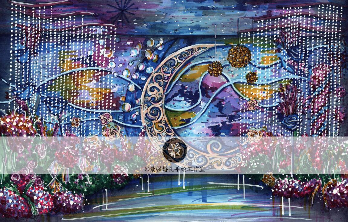 【婚礼手绘】纸面手绘马克笔手绘效果图|空间|舞台