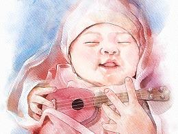 水彩风格小宝宝一枚
