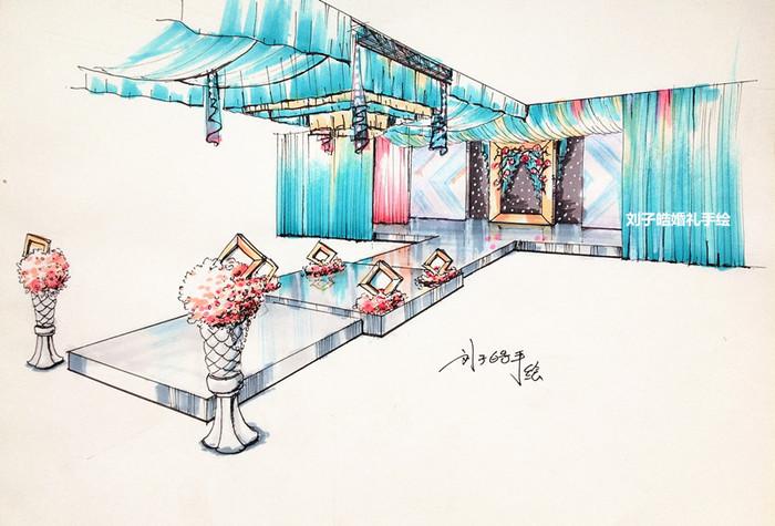 婚礼手绘效果图|空间|舞台美术|359502826 - 原创作品