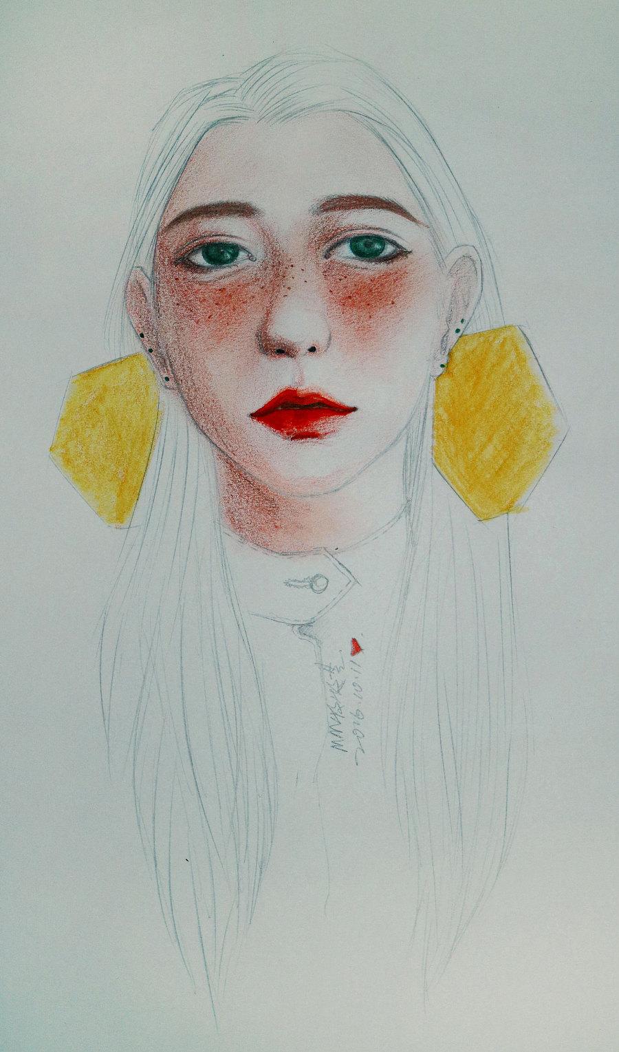 手绘头像|绘画习作|插画|mumuyun