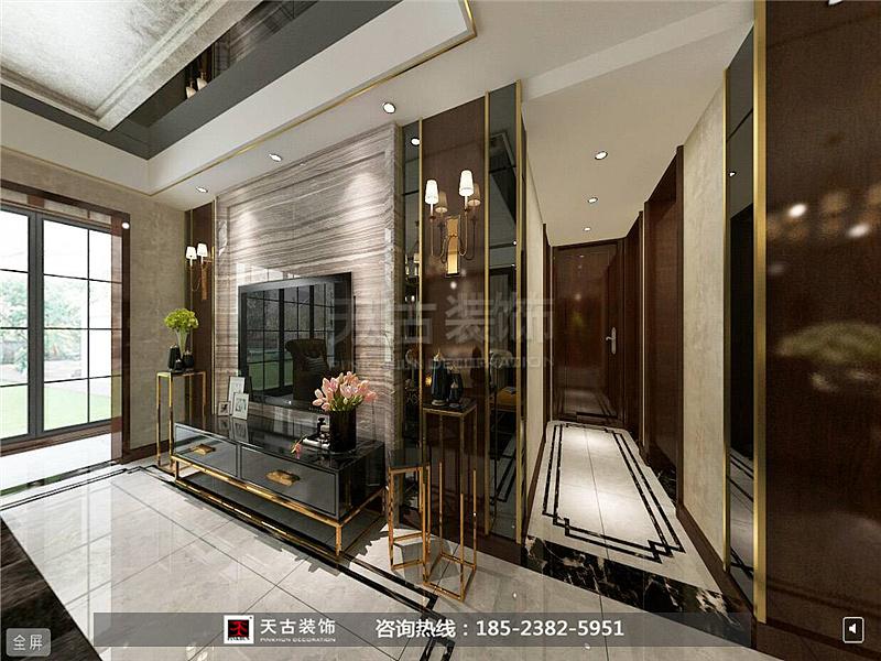 墙的精心设计和电视柜是整个空间的焦点,展现现代港式风格特有的装修图片