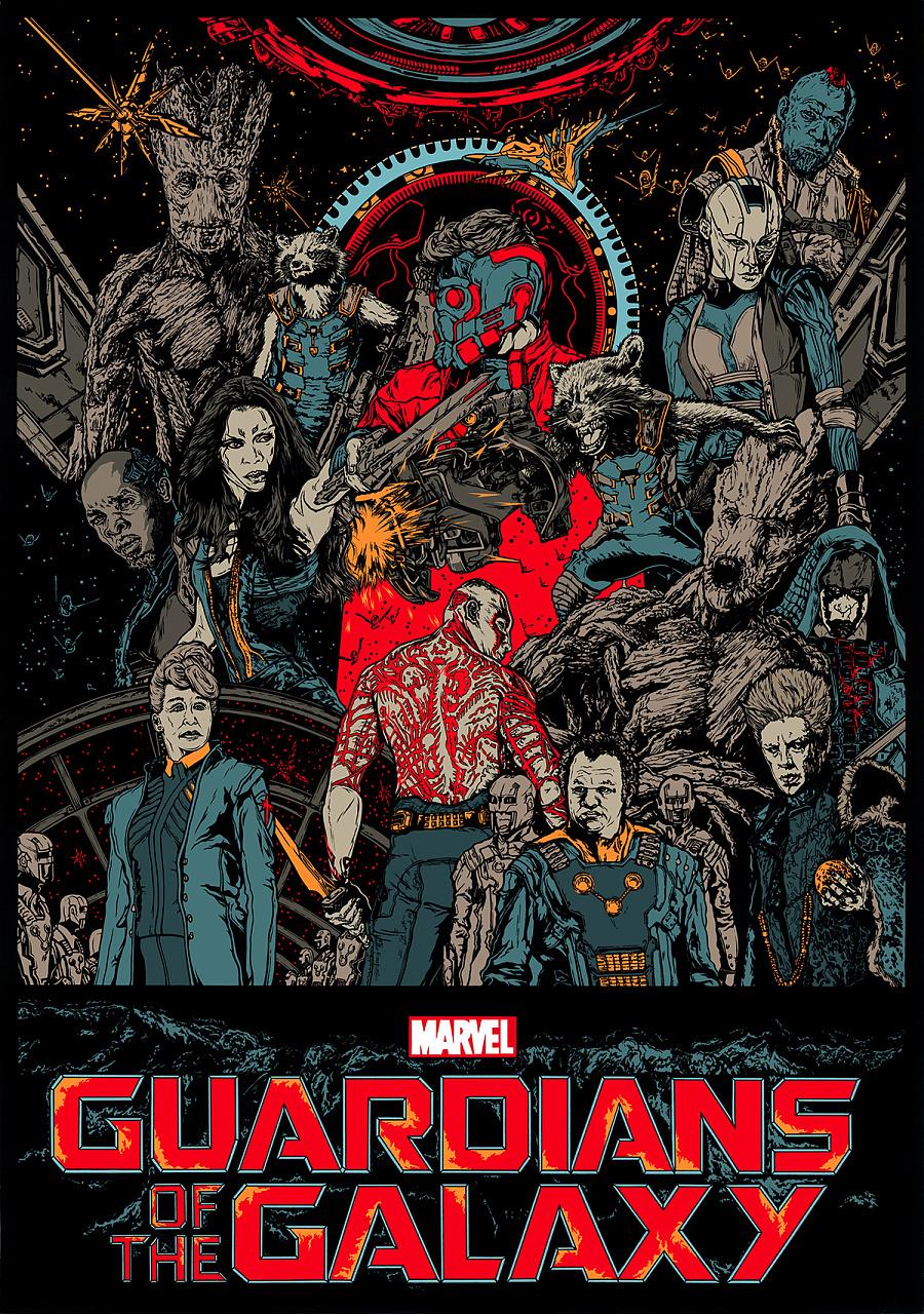 《银河护卫队》概念手绘海报|绘画习作|插画|ace