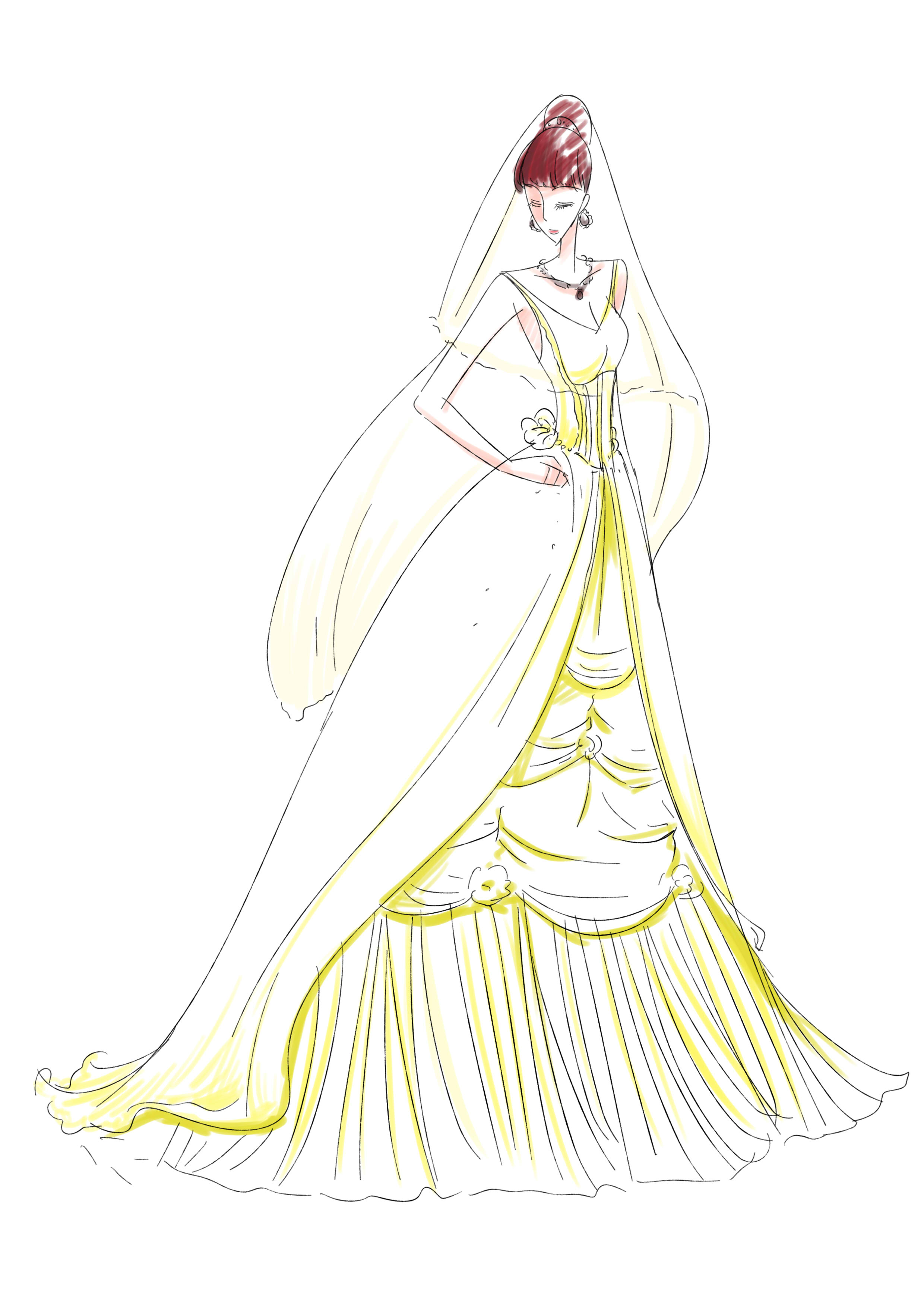 裙子设计图手稿简笔画