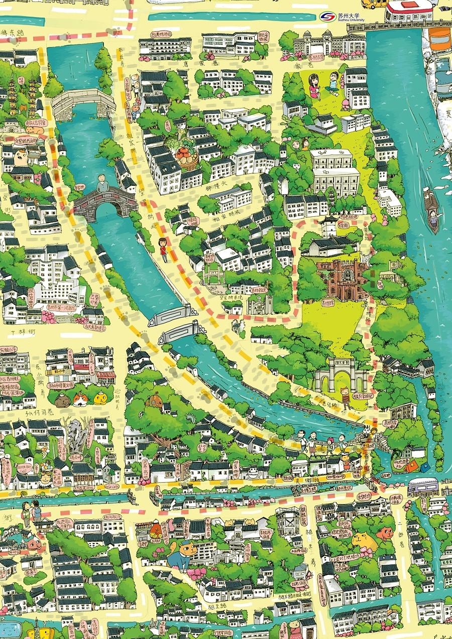 苏州手绘地图|商业插画|插画|miao9