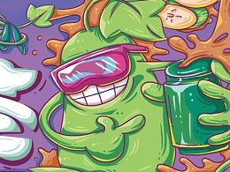 为【绿力】品牌冬瓜茶包装插画设计