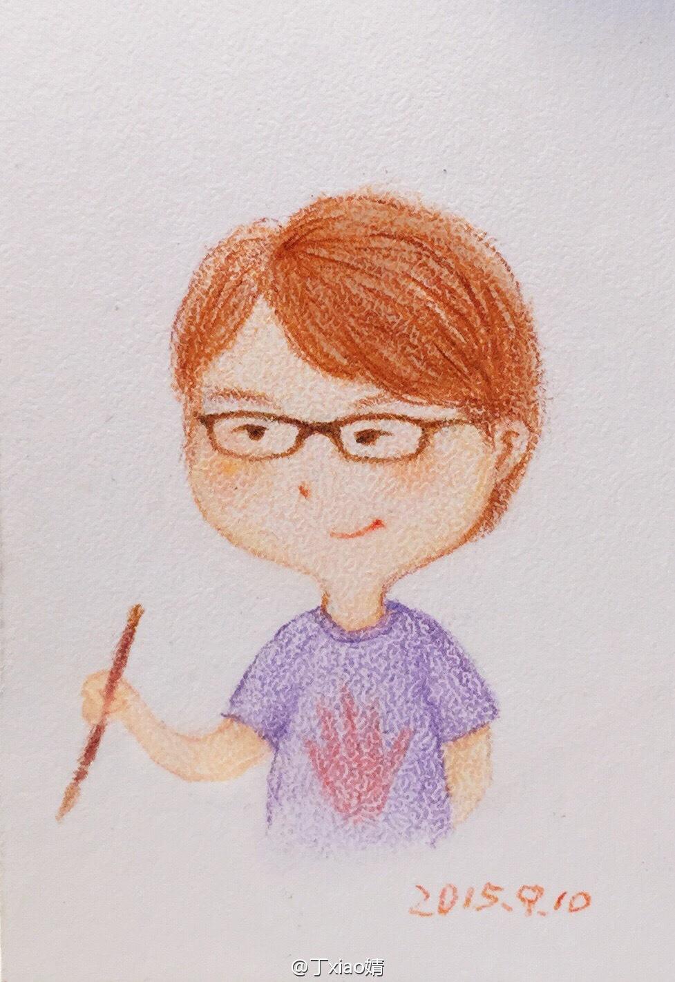手绘彩铅小人物系列插画47
