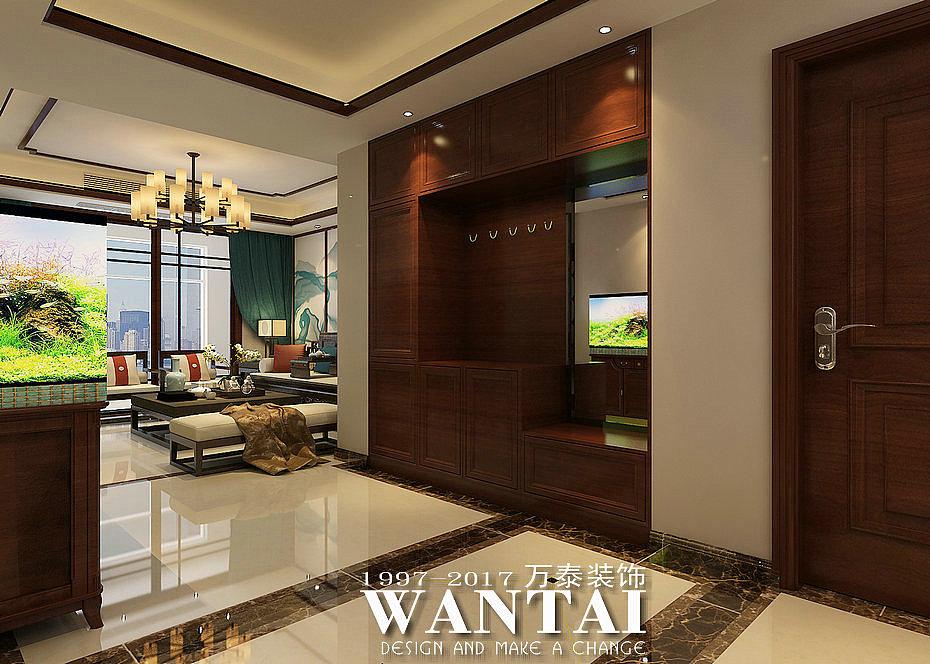 客厅背影墙采用极为大气的山水为景,浅色调的软装与家居本色阴阳调和图片