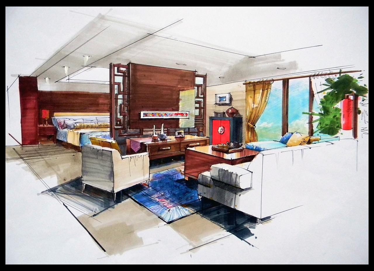 手绘效果图临摹|空间|室内设计|linda0564 - 原创作品