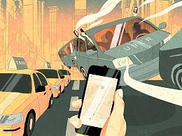 汽车商业杂志插画设计 4月刊